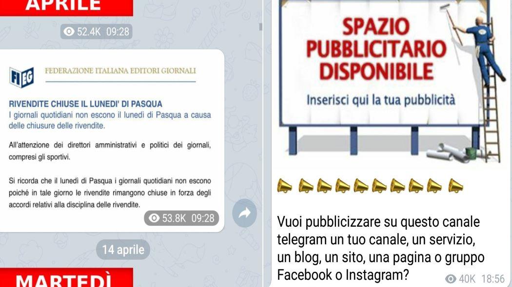"""L'annuncio Fieg riportato nelle edicole pirata di Telegram, a destra la """"possibilità"""" di fare inserzioni pubblicitarie"""