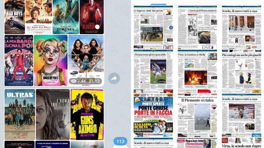 A sinistra, un'edicola pubblicizza un altro canale dedicato ai film. A destra, il catalogo di un'altra edicola pirata