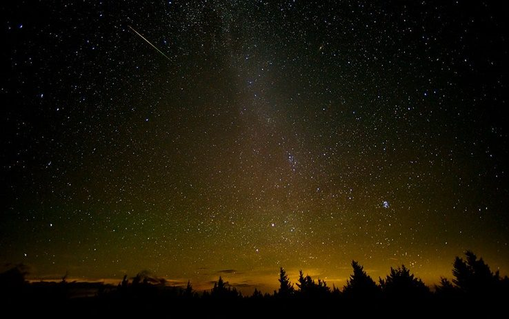 SPRUCE KNOB, WV - AUGUST 12: In this NASA handout, a 30 second exposure of a meteor streaks across the sky during the annual Perseid meteor shower August 12, 2016 in Spruce Knob, West Virginia. The annual display, known as the Perseid shower because the meteors appear to radiate from the constellation Perseus in the northeastern sky, is a result of Earth's orbit passing through debris from the comet Swift-Tuttle. (Photo by Bill Ingalls/NASA viaGetty Images)
