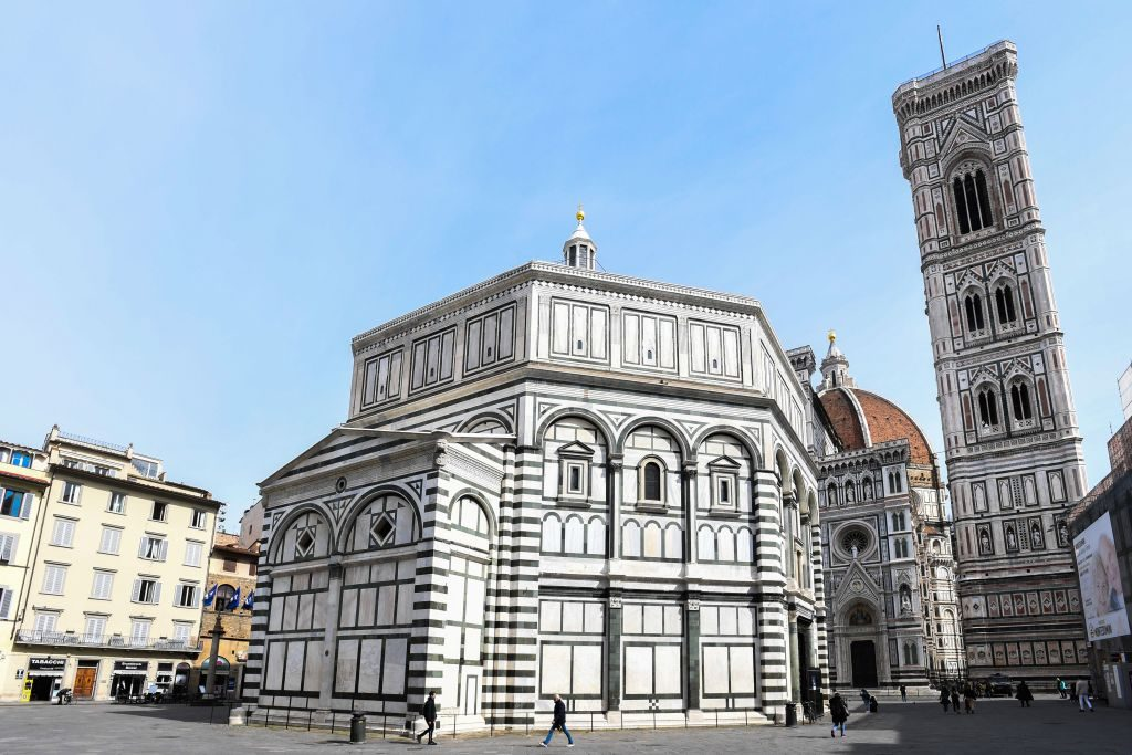 A general view taken on March 10, 2020 shows the deserted Piazza del Duomo in Florence, Tuscany, with the Battistero di San Giovanni (C) and the Santa Maria del Fiore cathedral (Rear) as Italy imposed unprecedented national restrictions on its 60 million people on March 10 to control the deadly coronavirus. (Photo by Carlo BRESSAN / AFP) (Photo by CARLO BRESSAN/AFP via Getty Images)