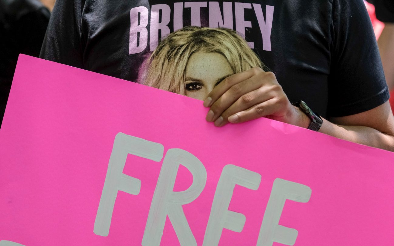 June 23, 2021, Los Angeles, California, USA: Fans and supporters of Britney Spears gather outside the County Courthouse in Los Angeles, Wednesday, June 23, 2021, during a scheduled hearing in Britney Spears' conservatorship case. Pop singer Britney Spears urged a US judge on June 23, to end a controversial guardianship that has given her father control over her affairs since 2008. ''I just want my life back. It's been 13 years and it's enough,'' she told a court hearing in Los Angeles during an emotional 20-minute address via videolink. Credit Image: Ringo Chiu/ZUMA Wire Pictured: GV,General View Ref: SPL5234270 230621 NON-EXCLUSIVE Picture by: Zuma / SplashNews.com Splash News and Pictures USA: +1 310-525-5808 London: +44 (0)20 8126 1009 Berlin: +49 175 3764 166 photodesk@splashnews.com World Rights, No Argentina Rights, No Belgium Rights, No China Rights, No Czechia Rights, No Finland Rights, No France Rights, No Hungary Rights, No Japan Rights, No Mexico Rights, No Netherlands Rights, No Norway Rights, No Peru Rights, No Portugal Rights, No Slovenia Rights, No Sweden Rights, No Switzerland Rights, No Taiwan Rights, No United Kingdom Rights